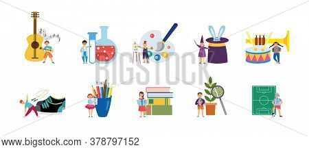 Supplies For Childrens Hobbies And Interests Flat Vector Illustration Isolated.
