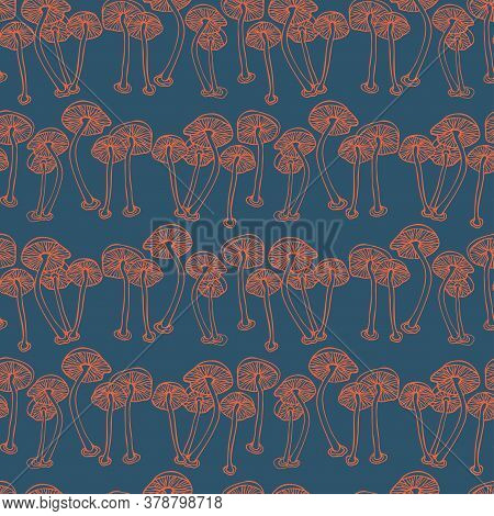 Vector Seamless Colorful Pattern With Lined Mushrooms Or Fungi In Blue Tones