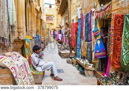 Traditional India. Shop streets in old town Jaisalmer. Rajastan. Feb 2013