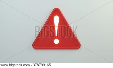 3d Attention Warning Alert Sign With Exclamation Mark Symbol Isolated On White Background. Concept D