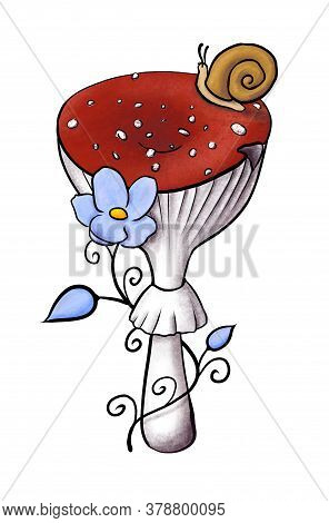 Illustration Of Redcap Fly Agaric With Snail And Blue Flower. Hand-drawn Poisonous Red Mushroom With