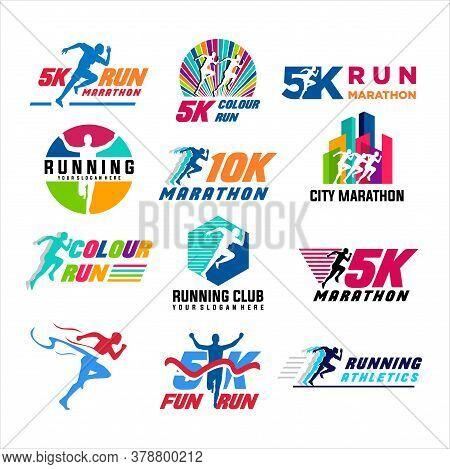 Run Sport Club Logo Templates Set, Emblems For Sport Organizations, Tournaments And Marathons Colorf