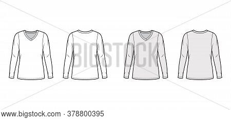 V-neck Jersey Sweater Technical Fashion Illustration With Long Sleeves, Oversized Body, Tunic Length