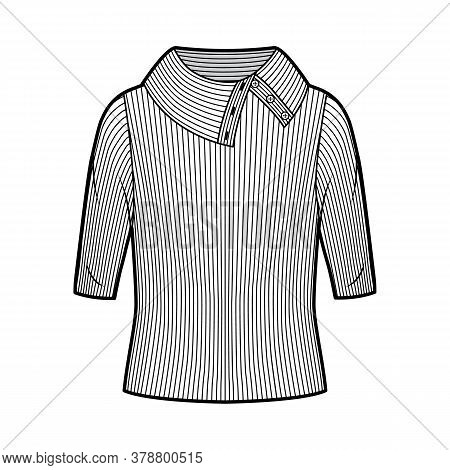 Wide Button-up Turtleneck Ribbed-knit Sweater Technical Fashion Illustration With Elbow Sleeves, Ove