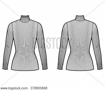Turtleneck Ribbed-knit Sweater Technical Fashion Illustration With Long Sleeves, Close-fitting Shape