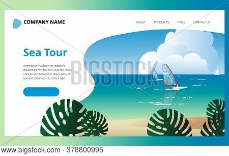 Summer Sea Landscape With Windsurfers. Template For The First Landing Page Screen With A Southern La