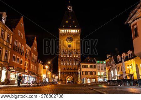 Speyer, Germany - Mar 14, 2020: The Old Gate Altpoertel In Speyer, Germany At Night. It Is The Medie