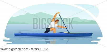 Sports Male Athlete Participate In Canoeing Race Sprint. Man Kneel And Paddles. Canoe Training In Th
