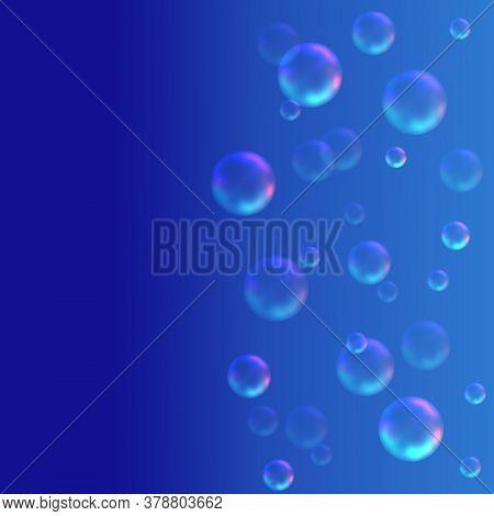 Digital Generated Illustration - Scattering Transparent  Spherical Particles Of Gas Or Water Drops.