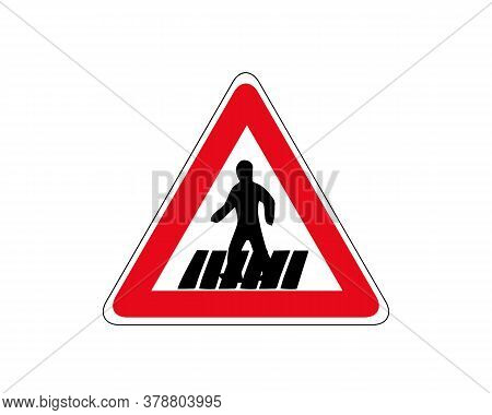 Traffic Sign Zebra Crossing. Pedestrian Crossing - Crosswalk Flat Icon Symbol. Isolated On White, Ve