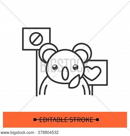 Animal Rights Icon. Koala With Protest Banners Linear Pictogram. Concept Of Animal Cruelty, Drug Tes