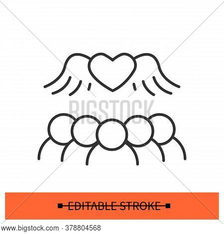 Open Relationships Icon. Group Of People Gathering Under Flying Heart Linear Pictogram. Concept Of F