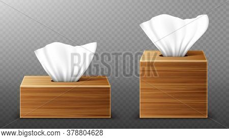 Paper Napkin In Wooden Boxes Mockup, Open Blank Packages With Tissue Pull Wipes. Hygiene Accessories
