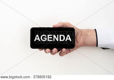 Schedule Calendar Agenda Reminder Personal Organizer Concept. Agenda Word On Black Screen Of Mobile