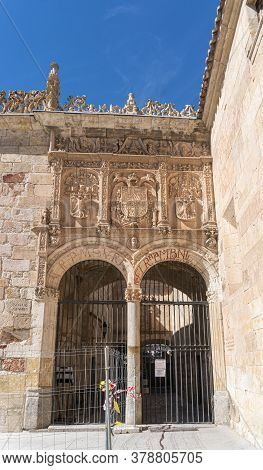 Salamanca, Spain, July 2020 - Ornate Doorway  In The City Of Salamanca, Spain