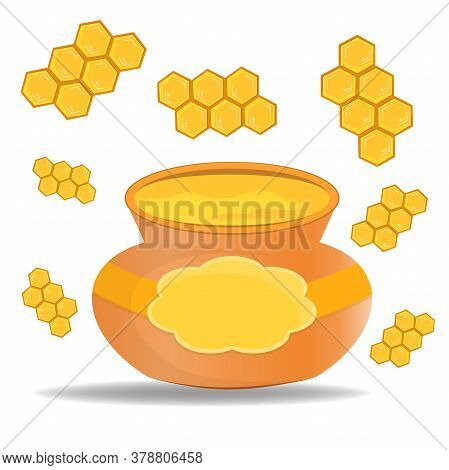 Keg With Honey Isolated On White Background. Honey With Combs. The Honeycomb Can Be Continued Indefi