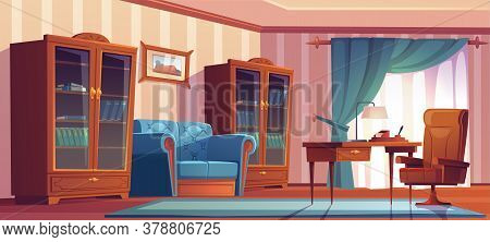 Vintage Home Office Interior With Wooden Furniture, Table, Chair, Sofa And Bookcases. Vector Cartoon