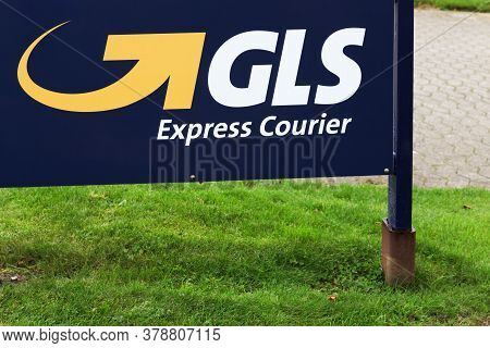 Hinnerup, Denmark - October 28, 2017: Gls Logo On A Signboard. General Logistics Systems Is A Dutch