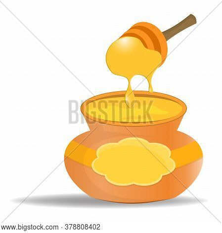 Keg With Honey Isolated On White Background. Honey Dipper With Flowing Honey. Illustration In Cartoo