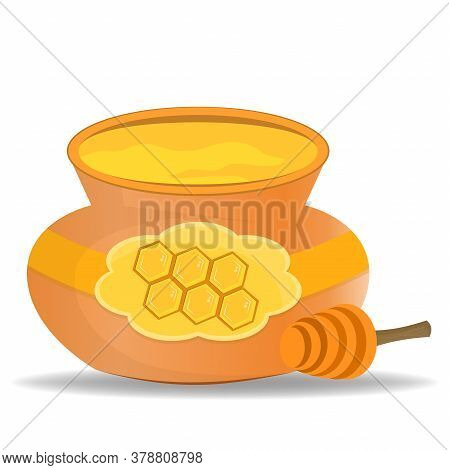 Keg With Honey Isolated On White Background. Honey Dipper For Collecting Honey. Illustration In Cart