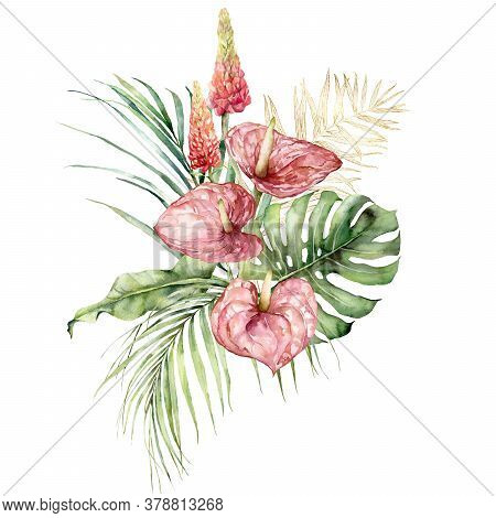 Watercolor Tropical Bouquet With Anthurium, Lupine And Gold Palm Leaves. Hand Painted Tropical Flowe
