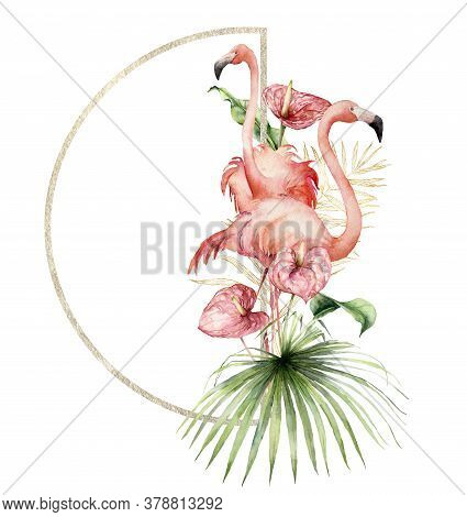 Watercolor Gold Frame With Pink Flamingo, Anthurium And Linear Palm Branch. Hand Painted Tropical Bi