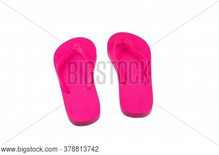 Pink Flip-flops Isolated On A White Background