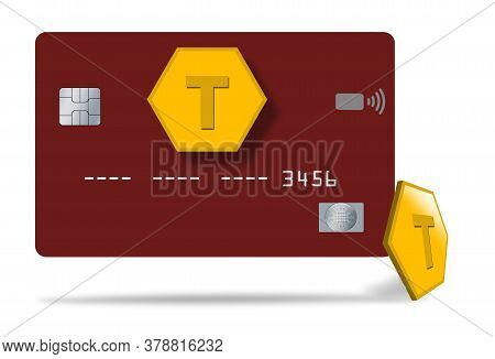 A Virtual Credit Card Is Seen With Tokens Used To Safely Pay For Transactions In This Illustration A