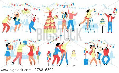 Happy People In Birthday Party Vector Illustration Set. Cartoon Flat Man Woman Characters Celebrate