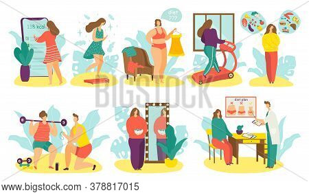 Overweight People On Diet Vector Illustration Set. Cartoon Flat Man Woman Active Fat Character Lose