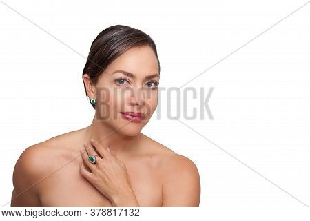 Beautiful Young Woman Wearing Jewels Made With Colombian Emeralds Isolated On White Background