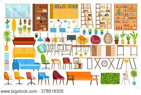 Office Furniture, Coworking Space Vector Illustration Set. Cartoon Collection Of Interior Elements F