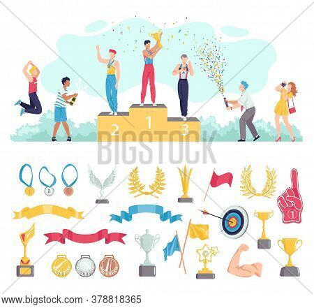 Award For People Win In Sport Vector Illustration Set. Cartoon Flat Sportsman Characters Standing On