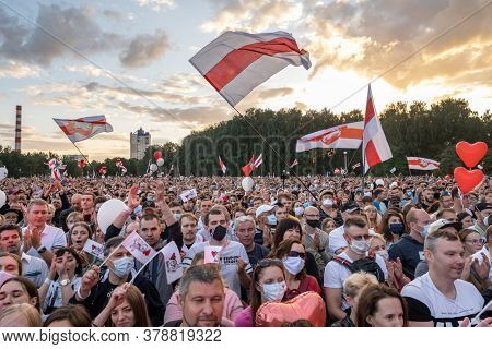 Minsk, Belarus - July 30, 2020: Supporters of presidential candidate Svetlana Tikhanovskaya at her campaign rally in Minsk on July 30, 2020