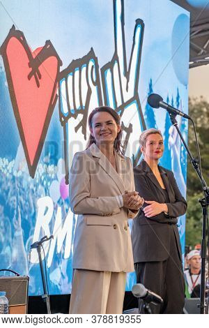Minsk, Belarus - July 30, 2020: Svetlana Tikhanovskaya, the main opposition candidate for presidential elections in Belarus and Maria Kolesnikova, the former campaign manager of Victor Babariko