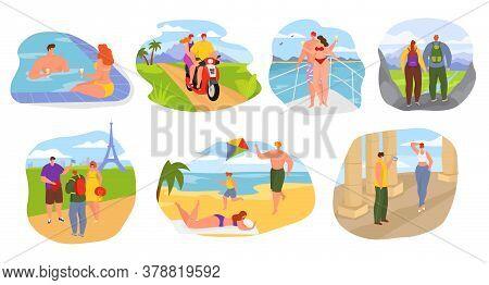 Summer Travel, Tourists On Vacation People Flat Vector Illustrations Set. Travelers Seasonal Recreat