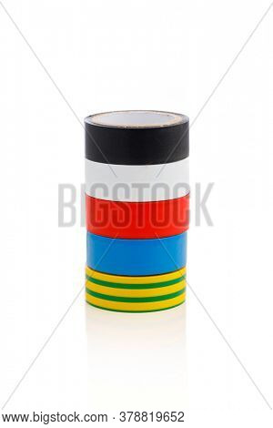 insulation tapes stack, isolated on white