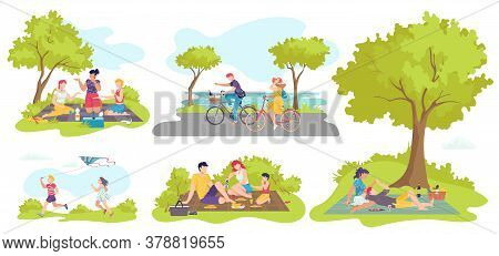 Picnic Outdoor In Summer, People With Food On Nature, Families, Happy Couple In Love, Lying On Grass