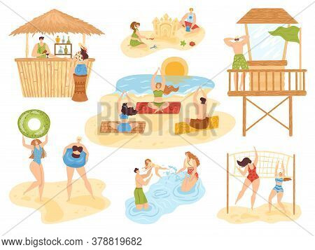 Beach Summer Activities Set Of Isolated Vector Illustration, People On Sea, Fun And Active Sport, Va