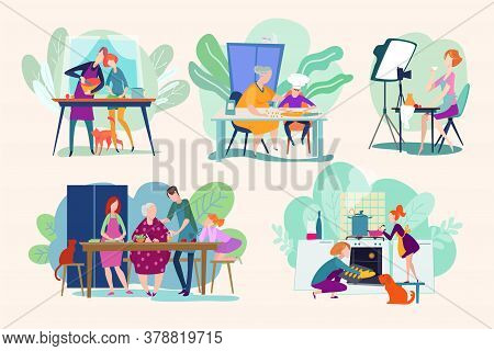 Chef People Cooking Food, Cook Character Woman Or Man Cooker, Dishes On Kitchen Vector Illustrations