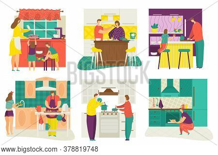 People Cooking At Home Kitchen, Serving Table, Children Learning To Cook Food Set Of Cartoon Flat Is