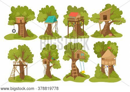 Tree Wood Houses For Children Playground With Ladder, Swing And Flip-flap To Play For Kids Outdoor F
