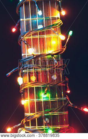 guitar finger-board with multicolor lights