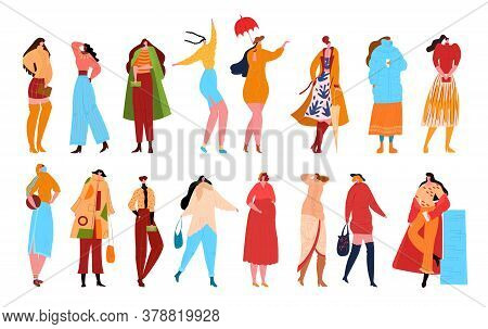Woman Fashion Characters Isolated On White Flat Vector Illustration. Beautiful Women In Fashion Clot