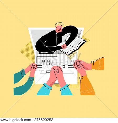 Vector Flat Illustration Priest Who Prays Over Bible Online With His Parishioners. Concept Church An