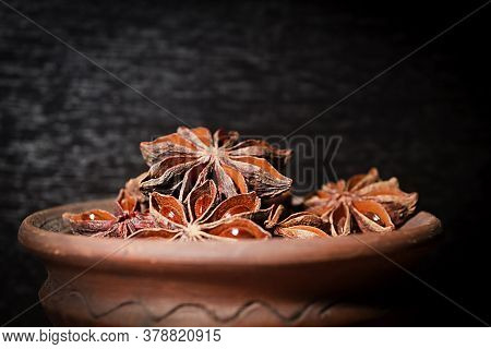 Anis In Bowl, Dark Background, Selective Focus