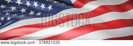 Beautiful American Flag Wave Close Up For Memorial Day Or 4th Of July On Banner Background With Copy