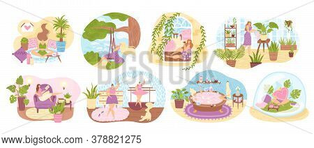 Set Of Women Enjoying Their Free Time, Performing Leisure Activities And Doing Hobbies Flat Vector I