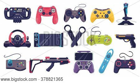 Game Joystick Icons And Gamers Gadgets Technology, Controller Set Of Vector Illustrations. Electroni