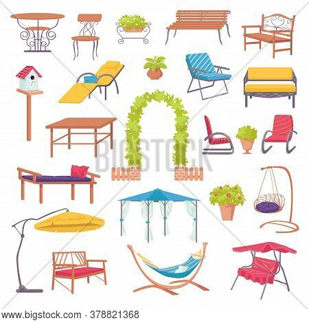 Outdoor Furniture For Garden Set With Green Plants, Chairs, Armchairs, Tables And Sunshades For Land